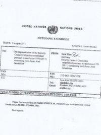Facsimile des Originaldokuments des Sanktionskomitees der Vereinten Nationen